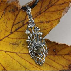 grzyby,grzybki,leśny,jesienny,srebrne grzybki - Wisiory - Biżuteria