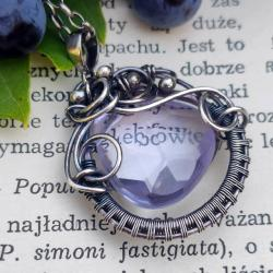 lawendowy kwarc,wire wrapping,naszyjnik,srebro, - Naszyjniki - Biżuteria