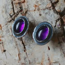 ametyst,srebrne,blask,fioletowe,retro,sztyfty - Kolczyki - Biżuteria