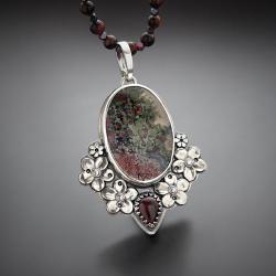 srebrny,naszyjnik,z agatem,z kwiatami - Naszyjniki - Biżuteria