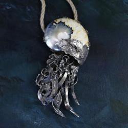 srebrny naszyjnik z muszlą,morski wisior - Naszyjniki - Biżuteria