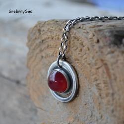 naszyjnik czerwony,srebrny wisior - Naszyjniki - Biżuteria