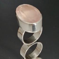 kwarc różowy,blask,srebro,baśniowy,różowy - Pierścionki - Biżuteria