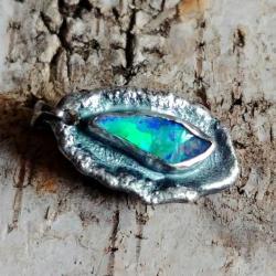 opal,blask,fiolet,zieleń,szary,srebrny,surowy - Wisiory - Biżuteria