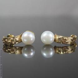 perła,pozłacane,organiczne,eleganckie,nowoczesne - Kolczyki - Biżuteria