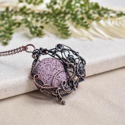 fioletowy wisior,fioletowy naszyjnik,lawa,miedź - Naszyjniki - Biżuteria