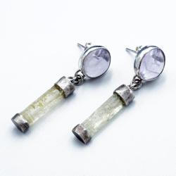 kolczyki na sztyftach z berylami - Kolczyki - Biżuteria
