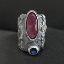 srebro,złoto,rubin - Pierścionki - Biżuteria