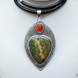 srebro,wisiory,karneol,heliotrop,biżuteria - Wisiory - Biżuteria
