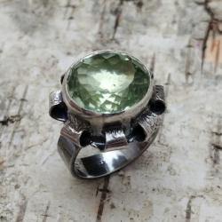 PRASIOLIT,srebrny,srebro,zieleń,retro,SELEDYNOWY - Pierścionki - Biżuteria