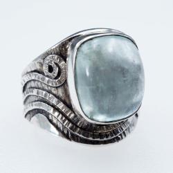 Srebrny regulowany pierścionek z akwamarynem - Pierścionki - Biżuteria