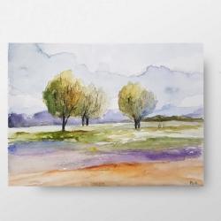 akwarela,pejzaż,pastelowe kolory,drzewa - Obrazy - Wyposażenie wnętrz