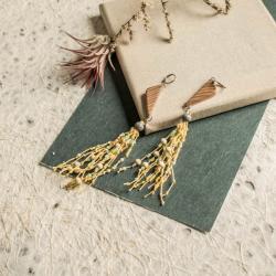 kolczyki wiszące,lniana biżuteria - Kolczyki - Biżuteria