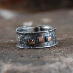 obrączka ze srebra i złota,srebrno złota obrączka - Pierścionki - Biżuteria