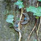Kolczyki elfi,elficki,kamień księżycowy,błękitny,liście