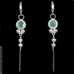 szmaragd,perła,długie,antyczne,boho,vintage - Kolczyki - Biżuteria