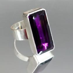 ametyst,srebrny,blask,fioletowy,szary,mineralny, - Pierścionki - Biżuteria