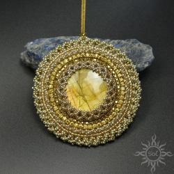 mandala,okrągły,na lato,labradoryt,ażurowy,złoty - Wisiory - Biżuteria