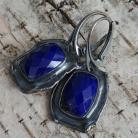 Kolczyki lapis lazuli,srebro,srebrne,chabrowe,granat,retro