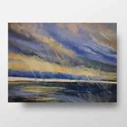 pastele,morze,deszcz - Obrazy - Wyposażenie wnętrz