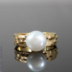 perła,pozłacany,organiczny,elegancki,nowoczesny - Pierścionki - Biżuteria