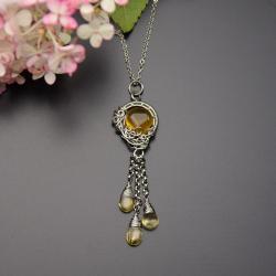 żółty,wisiorek,chalcedon,cytryn,wire wrapping - Wisiory - Biżuteria