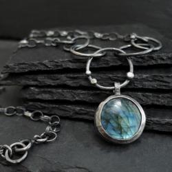 Wyrazisty nowoczesny naszyjnik srebro,surowy - Wisiory - Biżuteria