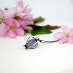 minimalistyczny wisior z ametystem,Dzień Mamy - Wisiory - Biżuteria