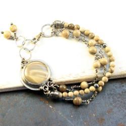 srebrna bransoletka z krzemieniem pasiastym - Bransoletki - Biżuteria