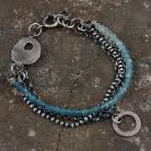 Bransoletki bransoleta boho ze srebra i akwamarynów