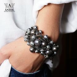 bransoleta z perłami,skórzana biżuteria - Bransoletki - Biżuteria