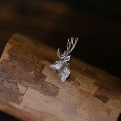 srebrny jeleń,biżuteria z jeleniem - Broszki - Biżuteria