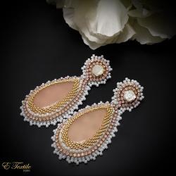 romantyczne,ślubne,róże,pastelowe - Kolczyki - Biżuteria