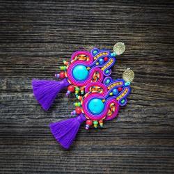 etniczne kolczyki sutasz,kolczyki z chwostami,róż - Kolczyki - Biżuteria