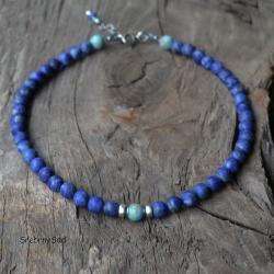 naszyjnik z kamieni,lapis lazuli,niebieski - Naszyjniki - Biżuteria