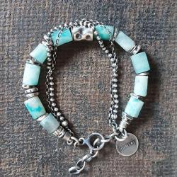 bransoletka z amazonitów,bransoletka na prezent - Bransoletki - Biżuteria