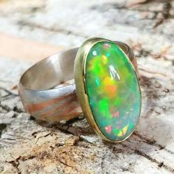 opal,złoty,złoto,blask,tęczowy,mokume,srebro - Pierścionki - Biżuteria