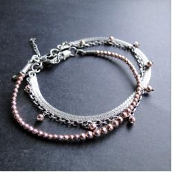 srebro,hematyt,różowe,delikatna,oksydowana - Bransoletki - Biżuteria