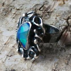 opal,srebrny,baśniowy,retro,teczowy,srebro,zieleń - Pierścionki - Biżuteria
