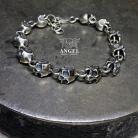 Dla mężczyzn surowa srebrna biżuteria męska,bransoleta męska