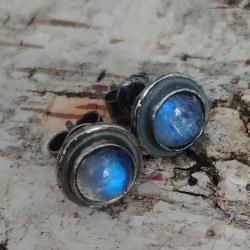 ksieżycowy,księzyc,srebrne,szary,sygnet,błękitne, - Kolczyki - Biżuteria
