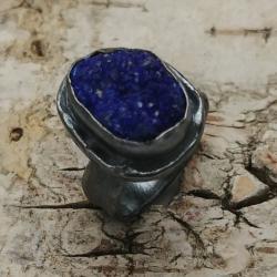 azuryt,blask,minerał,matowy,szary,kobalt,srebrny - Pierścionki - Biżuteria