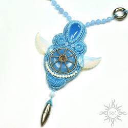 niebieski,błękitny,skrzydła,piryt,chalcedon,anioł - Naszyjniki - Biżuteria