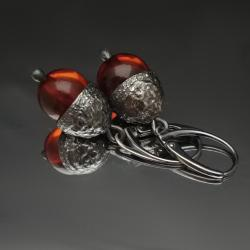 żołedzie,srebrne,bursztyn,bursztyny,jesienne, - Kolczyki - Biżuteria