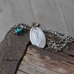 joga,srebro surowe, - Naszyjniki - Biżuteria