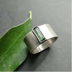 srebro,turmalin,surowy,oksydowany - Pierścionki - Biżuteria