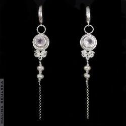 antyczne kolczyki,kwarc różowy,perła,delikatne - Kolczyki - Biżuteria