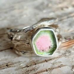 turmalin,arbuzowy,srebrny,delikatny,blask,różowy, - Pierścionki - Biżuteria