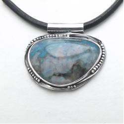 niezwykły wisior Chryzokola w kwarcu - Wisiory - Biżuteria
