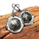 Kolczyki turmalin,blask,kwarc,srebrny,srebro,czerń,minerały